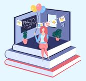 Happy teachers day isometric concept. Happy teachers day isometric 3d vector concept. Teacher sitting on the books in the classroom Royalty Free Stock Photo