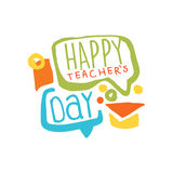 Happy Teachers Day label, back to school colorful hand drawn vector Illustration Stock Photo