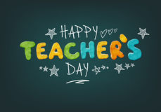 Happy Teachers Day. Layout Design with Handmade Clay Letters. Card , Invitation or Greeting Template Stock Image