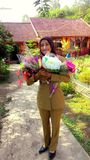 Happy teachers day. So much flowers gift from my students stock photo