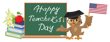 Happy Teachers Day. Owl teacher stands at blackboard. Cartoon illustration in vector format Royalty Free Stock Photography
