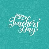 Happy Teachers Day poster, card. Vector hand lettering on white background.. Happy Teachers Day poster, card. Vector hand lettering on white background Royalty Free Stock Photography