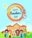 Happy Teachers Day Promo Vector Illustration. Royalty Free Stock Photo