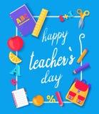 Happy Teachers Day Promo Vector Illustration Blue vector illustration