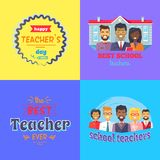 Happy Teachers Day Promo Vector Illustration. Happy teachers day promotional poster representing professors and school, text and lines, stickers with text about Royalty Free Stock Photography