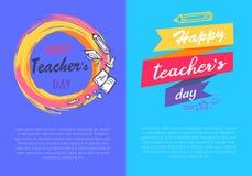 Happy Teachers Day Set of Two Vector Illustration stock illustration