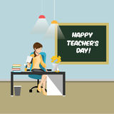 Happy teachers day. Vector concept with teacher Royalty Free Stock Images