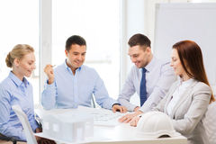Happy team of architects and designers in office Royalty Free Stock Photography