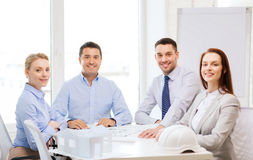 Happy team of architects and designers in office Royalty Free Stock Photos