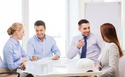 Happy team of architects and designers in office Royalty Free Stock Images