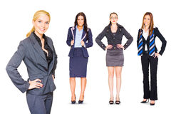 Happy Team Of Business People Isolated Over White Stock Images