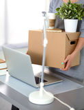 Happy team of businesspeople moving office Royalty Free Stock Photos