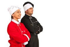 Happy team chefs looking to future. Isolated on white background Royalty Free Stock Images