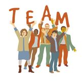Happy team group people isolate on white. Royalty Free Stock Images