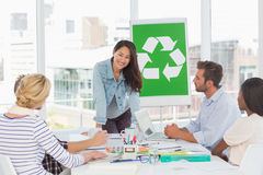 Happy team having a meeting about recycling policy Royalty Free Stock Photos