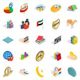 Happy team icons set, isometric style Royalty Free Stock Images