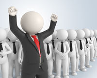 Happy team leader - 3d people. 3d rendered business team and their boss with his hands up in the air - Success in business concept Stock Photography