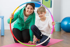 Happy team - me and my exercise instructor Royalty Free Stock Photography