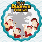 Happy Team of Rowers with Dragon Silhouette for Duanwu Festival, Vector Illustration Royalty Free Stock Photos