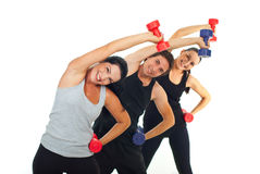 Happy team workout with dumbbell Stock Images