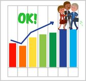 Happy teamwork with good bar chart Stock Image