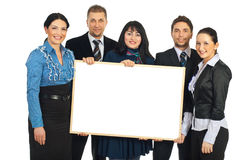Happy teamwork holding blank banner Stock Image