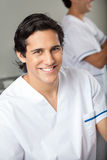 Happy Technician In Medical Laboratory Stock Images