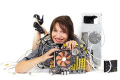 Happy with technology Royalty Free Stock Image
