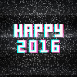Happy 2016 technology greeting card on noisy TV background Stock Photo