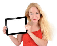 Happy Technology Woman Holding Tablet on White Stock Images