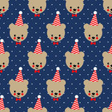 Happy teddy bear with birthday cap seamless pattern. Vector background with boy teddy bear. Cute design for birthday party. Child style illustration Stock Photos