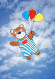 Happy teddy bear, childs drawing, watercolor paint Royalty Free Stock Images