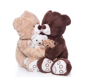 Happy teddy bear family with two children isolated over white. Stock Photos