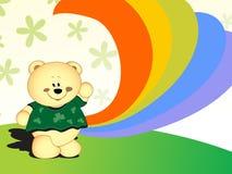 Happy teddy bear and rainbow cartoon background Stock Photography