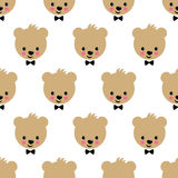 Happy teddy bear seamless pattern. Cute vector background with boy teddy bear. Royalty Free Stock Photography