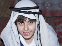 Happy Teen with Arabic Clothes. In Dubai Stock Photo