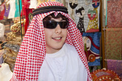Happy Teen with Arabic Clothes. In Dubai Royalty Free Stock Photo