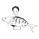 Happy teen and big perch. Vector illustration. Royalty Free Stock Photography
