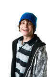 Happy teen boy. Portrait of a smiling teen boy isolated on white Stock Photo