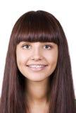 Happy teen with braces. Orthodontics Stock Photo