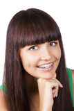 Happy teen with braces. Orthodontics Royalty Free Stock Photography