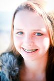 Happy Teen with Braces Outdoors Royalty Free Stock Photo