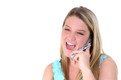 Happy Teen On Cellphone Over White Stock Images