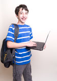 Happy teen computer backpack Stock Photography