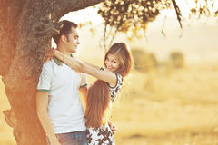 Happy teen couple embracing. Royalty Free Stock Images