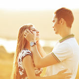 Happy teen couple embracing. Royalty Free Stock Image