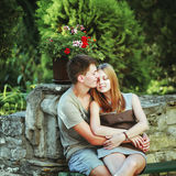 Happy teen couple embracing. Stock Images
