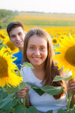 Happy teen couple having fun Stock Images