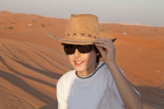 Happy Teen in a Desert Stock Photography