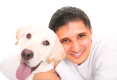Happy Teen With Dog. Close up, smiling teenager hugging a dog. isolated on white background Stock Image